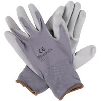 Gray Nylon Gloves with Gray Polyurethane Palm Coating - Large - Pair - 12/Pack