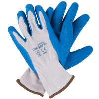 Cor-Grip Gray Polyester / Cotton Grip Gloves with Blue Crinkle Latex Palm Coating - Large - Pair - 12/Pack