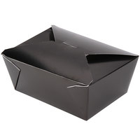 Bio-Pak 04BPBLACKM 8 inch x 6 inch x 3 1/2 inch Black Paper #4 Microwavable Take-Out Container - 160/Case
