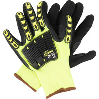 OGRE-Impact Polyester Grip Gloves with Black Sandy Nitrile Palm Coating and TPR Protectors - Large - Pair