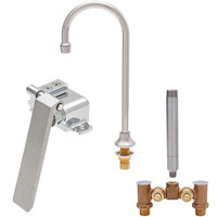 Fisher 56731 Deck Mounted Stainless Steel Faucet with Temperature Control Valve, 6 inch Swivel Gooseneck Nozzle, 2.2 GPM Aerator, and Knee Valve