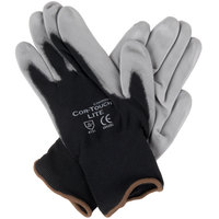Cor-Touch Lite Black Nylon Gloves with Gray Polyurethane Palm Coating - Large - Pair - 12/Pack
