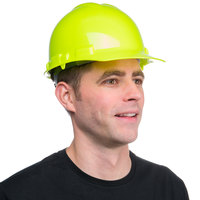 Duo Safety Hi-Vis Green Cap Style Hard Hat with 4-Point Ratchet Suspension