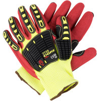 OGRE-CR+ Yellow HPPE / Glass Fiber Cut Resistant Gloves with Red Sandy Nitrile Palm Coating and TPR Reinforcements - Large - Pair