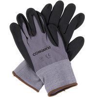 Conquest Gray Nylon / Spandex Gloves with Black Foam Nitrile / Polyurethane Palm Coating - Large - Pair - 12/Pack