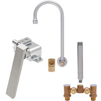 Fisher 22772 Backsplash Mounted Stainless Steel Faucet with Temperature Control Valve, 12 inch Swivel Gooseneck Nozzle, 2.2 GPM Aerator, Knee Valve, and Elbow