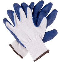 Natural Polyester / Cotton Work Gloves with Blue Latex Palm Coating - Large - Pair - 12/Pack