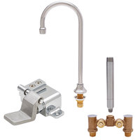 Fisher 56766 Deck Mounted Stainless Steel Faucet with Temperature Control Valve, 6 inch Swivel Gooseneck Nozzle, 2.2 GPM Aerator, and Wall Foot Pedal