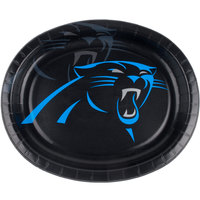 Creative Converting 322418 Carolina Panthers 10 inch x 12 inch Oval Paper Platter - 96/Case