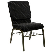 Flash Furniture XU-CH-60096-BK-BAS-GG Black Dot Patterned 18 1/2 inch Wide Church Chair with Communion Cup Book Rack - Gold Vein Frame