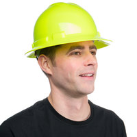 Duo Safety Hi-Vis Green Full-Brim Style Hard Hat with 4-Point Ratchet Suspension