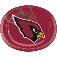 Creative Converting 322421 Arizona Cardinals 10 inch x 12 inch Oval Paper Platter - 96/Case
