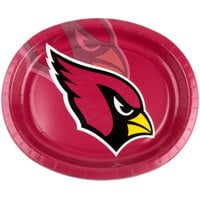 Creative Converting 322421 Arizona Cardinals 10 inch x 12 inch Oval Paper Platter - 96/Case