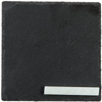 Core 5 inch Square Black Slate Appetizer / Tasting Plate with Soapstone Chalk - 4/Pack