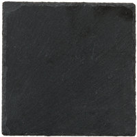 Acopa 5 inch Square Black Slate Appetizer / Tasting Plate with Soapstone Chalk - 4/Pack
