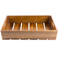 Tablecraft CRATE114 Gastronorm Acacia Wood Serving and Display Crate 21 inch x 13 inch x 4 1/4 inch