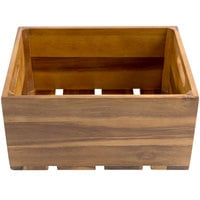 Tablecraft CRATE126 Gastronorm Acacia Wood Serving and Display Crate 13 inch x 10 3/8 inch x 6 1/4 inch