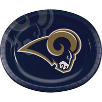 Creative Converting 322415 Los Angeles Rams 10 inch x 12 inch Oval Paper Platter - 96/Case