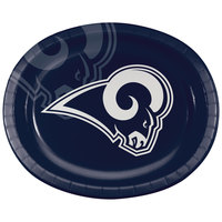 Creative Converting 335917 Los Angeles Rams 10 inch x 12 inch Oval Paper Platter - 96/Case