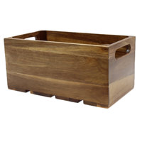 Tablecraft CRATE136 Gastronorm Acacia Wood Serving and Display Crate 13 inch x 7 inch x 6 1/4 inch
