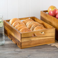 Tablecraft CRATE124 Gastronorm Acacia Wood Serving and Display Crate 13 inch x 10 3/8 inch x 4 1/4 inch