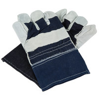 Denim Work Gloves with Cowhide Leather Palms - Large - Pair