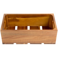 Tablecraft CRATE134 Gastronorm Acacia Wood Serving and Display Crate 13 inch x 7 inch x 4 1/4 inch