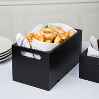 Tablecraft CRATE136B Gastronorm Black Wood Serving and Display Crate 13 inch x 7 inch x 6 1/4 inch