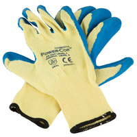 Power-Cor Yellow Kevlar® Cut Resistant Gloves with Blue Latex Palm Coating - Extra Large - Pair