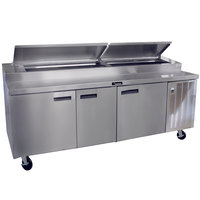 Delfield 18699PTBMP 99 inch Three Door Refrigerated Pizza Prep Table