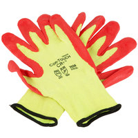Cor-Touch CR+ Yellow Aramid / Steel Fiber Cut Resistant Gloves with Red Foam Nitrile Palm Coating - Large - Pair
