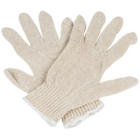 Standard Weight Natural Polyester / Cotton Work Gloves - Large - Pair - 12/Pack