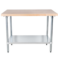 Advance Tabco H2G-364 Wood Top Work Table with Galvanized Base and Undershelf - 36 inch x 48 inch