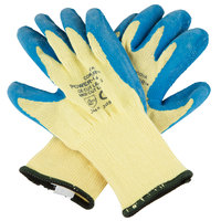 Power-Cor Yellow Kevlar® Cut Resistant Gloves with Blue Latex Palm Coating - Medium - Pair
