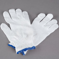 Medium Weight White Polyester / Cotton Work Gloves - Large - Pair - 12/Pack