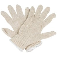 Economy Weight Natural Polyester / Cotton Work Gloves - Large - Pair - 12/Pack