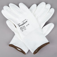 Halo White HPPE / Synthetic Fiber Gloves with White Polyurethane Palm Coating - Medium - Pair