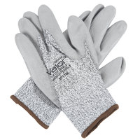 Valor Salt and Pepper HPPE / Synthetic Fiber Gloves with Gray Polyurethane Palm Coating - Large - Pair