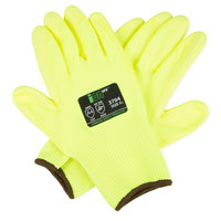 iON HV Hi-Vis Yellow HPPE / Glass Fiber Synthetic Fiber Cut Resistant Gloves with Hi-Vis Yellow Polyurethane Palm Coating - Extra Large - Pair
