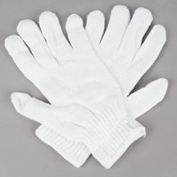 Standard Weight White Polyester / Cotton Work Gloves - Large - Pair - 12/Pack