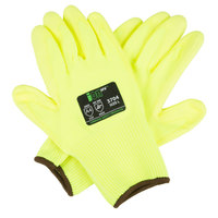 iON HV Hi-Vis Yellow HPPE / Glass Fiber Synthetic Fiber Cut Resistant Gloves with Hi-Vis Yellow Polyurethane Palm Coating - Large - Pair