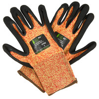 iON A4 Mandarin Orange HPPE / Glass Fiber / Synthetic Fiber Cut Resistant Gloves with Black Sandy Nitrile Palm Coating - Large - Pair