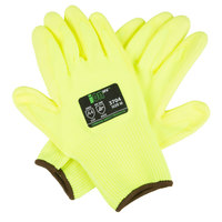 iON HV Hi-Vis Yellow HPPE / Glass Fiber Synthetic Fiber Cut Resistant Gloves with Hi-Vis Yellow Polyurethane Palm Coating - Medium - Pair