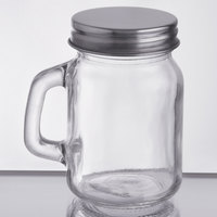 Acopa 4.75 oz. Mini Mason Jar with Handle and Solid Lid - 12/Case