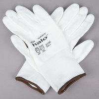 Halo White HPPE / Synthetic Fiber Gloves with White Polyurethane Palm Coating - Large - Pair