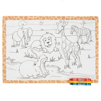 Hoffmaster Kids Jungle Fun Design Placemat with Choice 3 Pack Kids Restaurant Crayons - 1000/Set