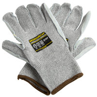 Monarch Gray Engineered Fiber Cut Resistant Gloves with Split Leather Palm Coating - Large - Pair