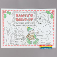 Hoffmaster Kids Santa's Workshop Interactive Paper Placemat with Choice 3 Pack Kids Restaurant Crayons - 1000/Set