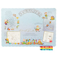Choice Kids Corner Interactive Placemat with 3 Pack Kids Restaurant Crayons - 1000/Set