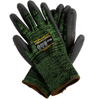 Monarch Soft Green Engineered Fiber Cut Resistant Gloves with Black Polyurethane Palm Coating - Large - Pair